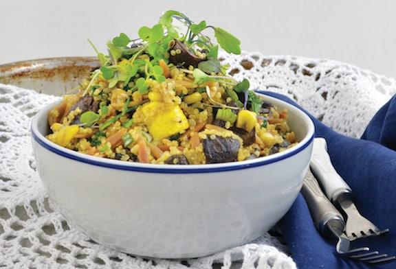Roasted Zucchini and Mushroom Pilaf Bowl