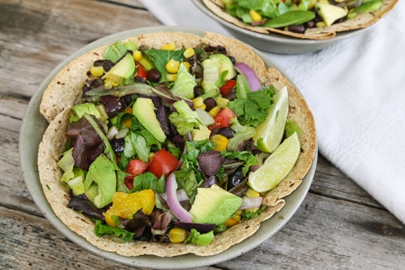 Southwestern salad in tortilla bowl