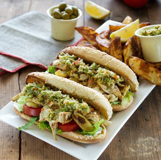 Vegan Muffaletta Po Boy sandwiches