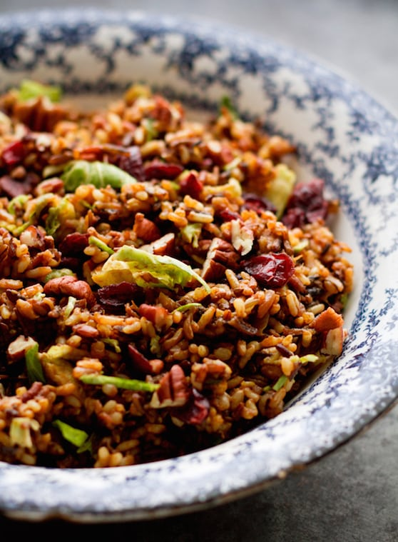 Wild rice pilaf with Brussels sprouts