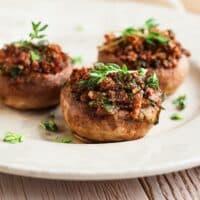 Nut-stuffed mushrooms