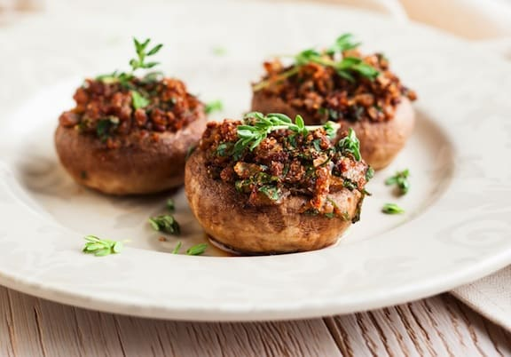 Nut-stuffed mushrooms