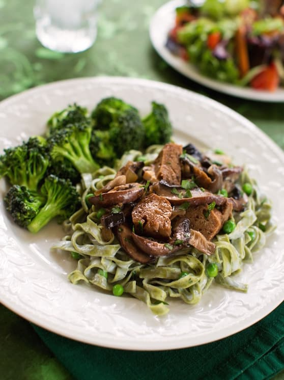 end the week with hearty vegan mushroom seitan stroganoff featuring