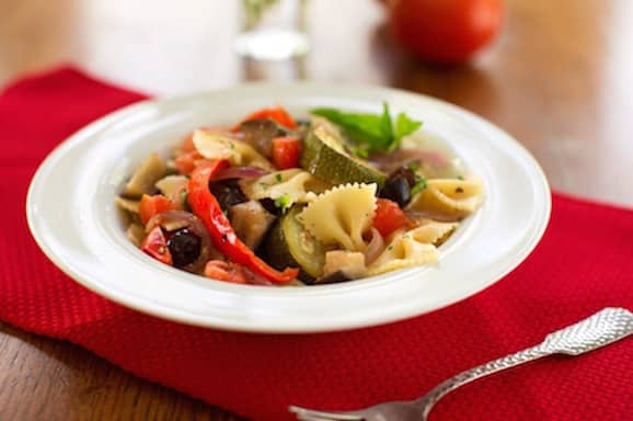 Roasted ratatouille on pasta
