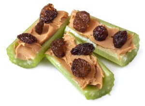 Ants on a log, celery with peanut butter and raisins