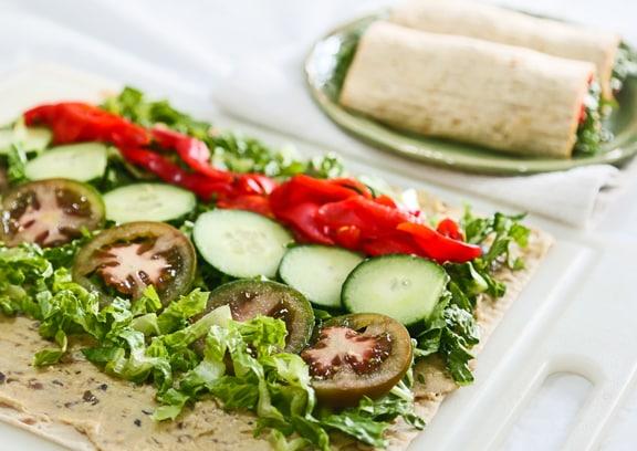 hummus and veggie lavash wrap