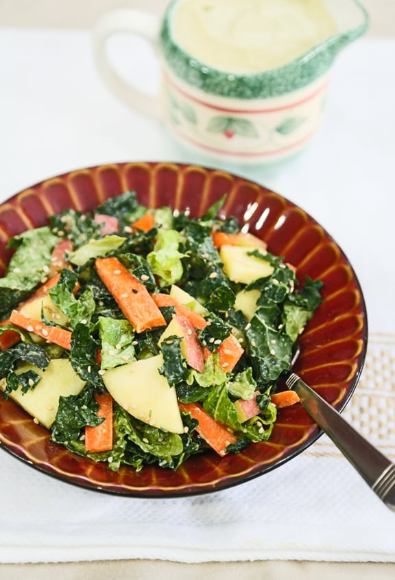 Kale, Romaine, and Apple Salad with sesame dressing