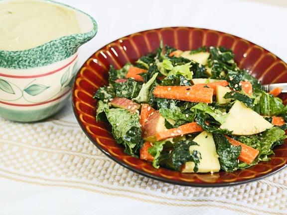 Massaged Kale, Romaine, and Apple Salad