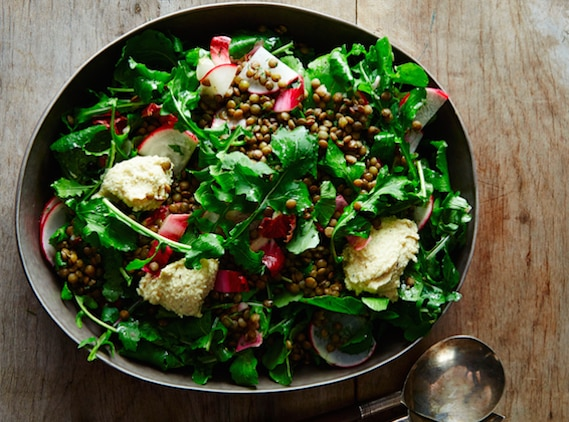 Lentil and arugula salad with herbed cashew cheese
