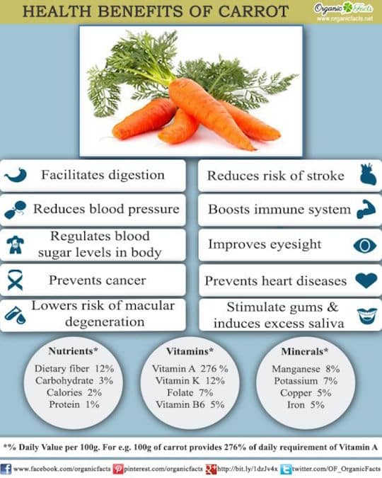 Carrots health benfits infographic