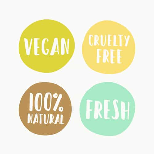 Set of vegan labels for product package. Vector hand drawn illustration.
