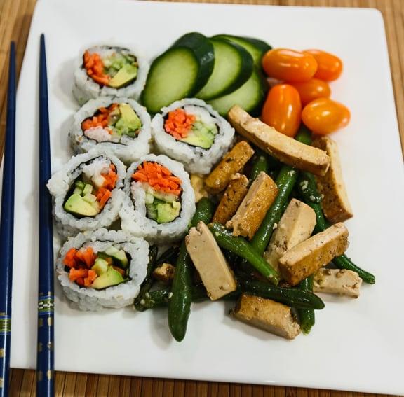 sesame stir-fried green beans with tofu