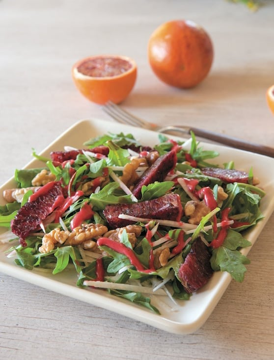 Arugula Salad with jicama, walnuts, and blood orange