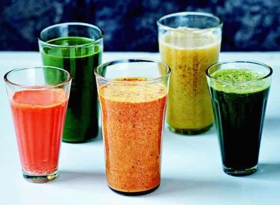 5 fresh fruit and vegetable juices