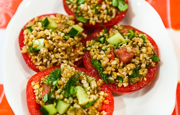 Einkorn Stuffed Tomato salad recipe