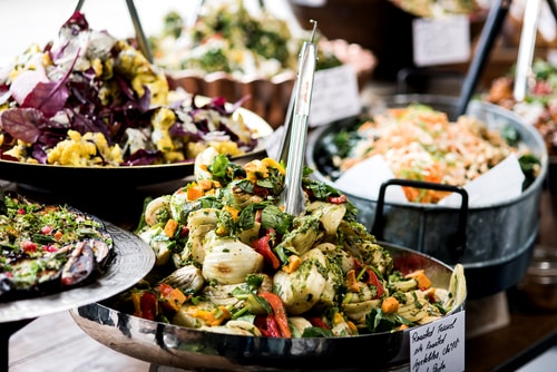 Cropped Image Of Orted Salads In A Buffet