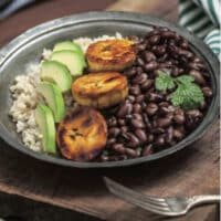 Cuban brown rice bowl with black beans and plantains