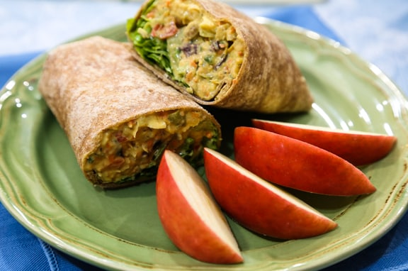 chickpea chopped salad wraps