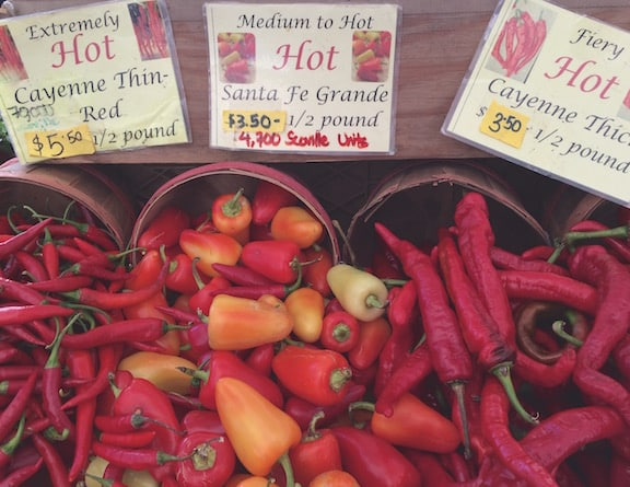 hot peppers at farm market