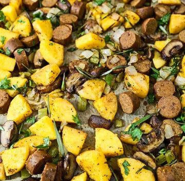 polenta and vegan sausage stuffing