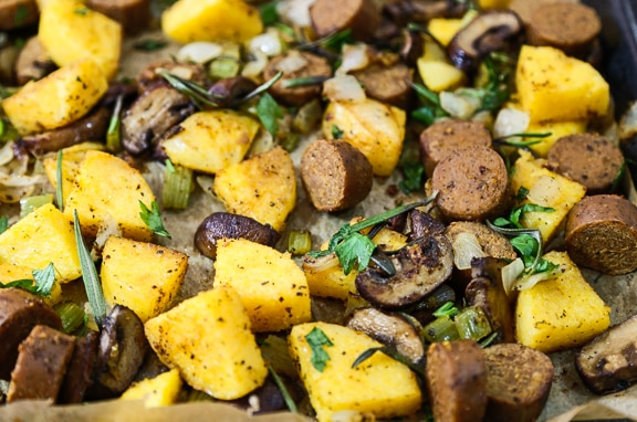 Vegan polenta and sausage stuffing