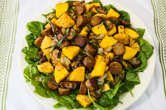 Polenta and vegan sausage stuffing