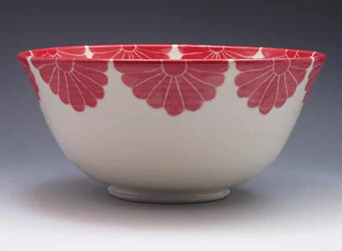 red porcelain serving bowl handmade kitchen gifts