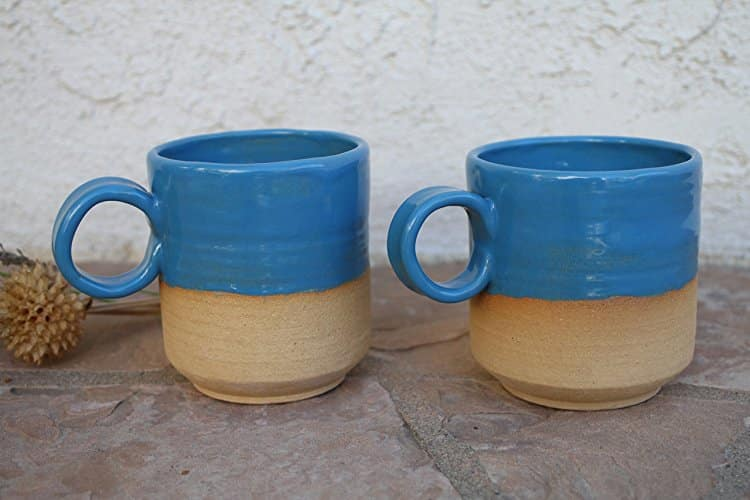 two handmade ceramic blue coffee tea mugs handmade kitchen gifts