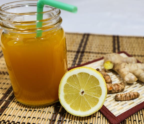 Ginger-lemon, rooibos, and turmeric tonic