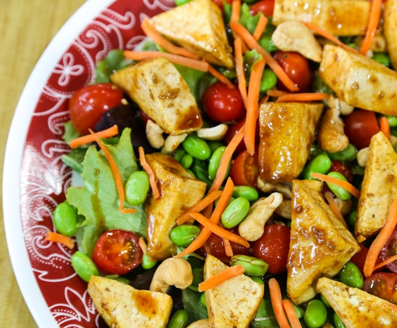 Tofu teriyaki salad recipe