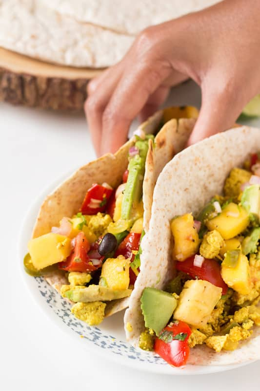 Vegan Breakfast Tacos With Mango Pineapple Salsa