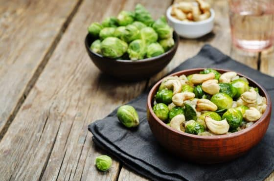 Brussels sprouts and cashew rice