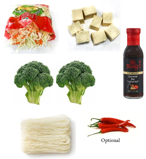 General Tso's tofu dinner shopping list