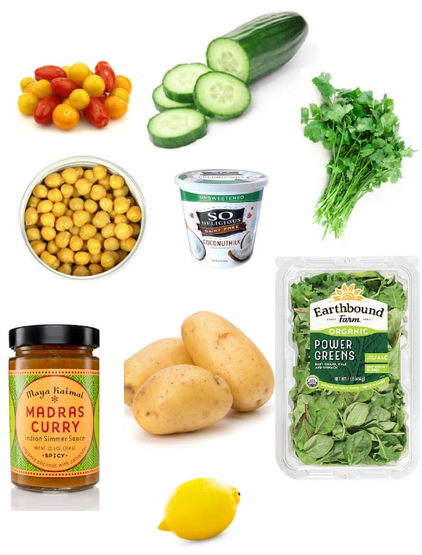 Greens-stuffed curry potato dinner  ingredients