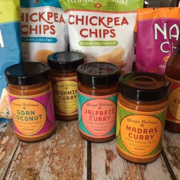 Maya Kaimal Indian simmer sauces and naan chips