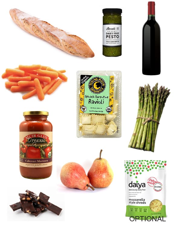 Vegan ravioli dinner ingredients