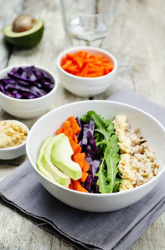 Rice bowl with hummus