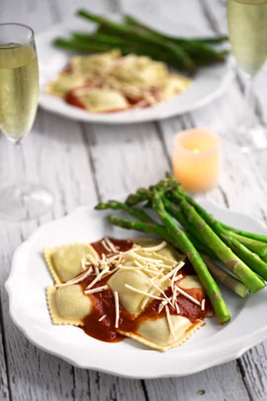 Romantic vegan ravioli dinner for two