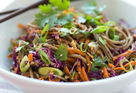 Sesame Soba Salad with carrots