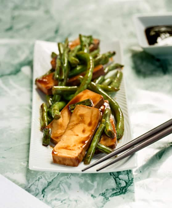 Easy Tofu and green beans teriyaki