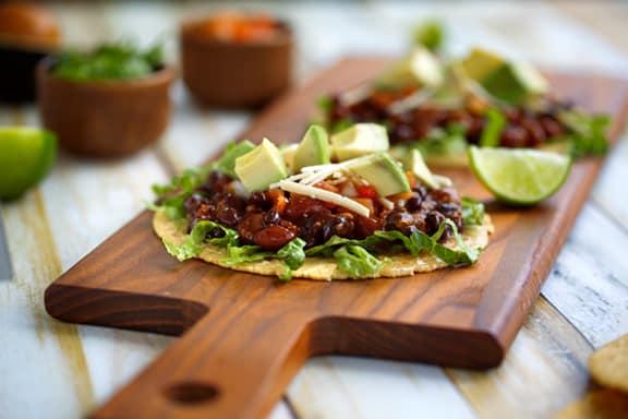 easy vegan black bean tostadas