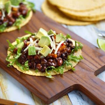 Insanely easy vegan black bean tostadas