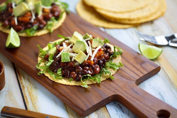 Insanely easy vegan black bean tostadas