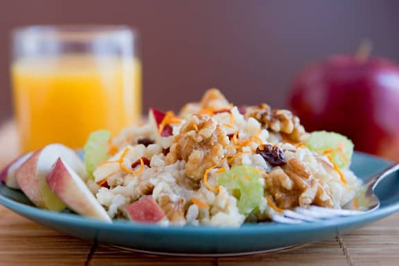 Walnut apple brown rice salad