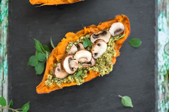 pesto & mushroom stuffed sweet potatoes