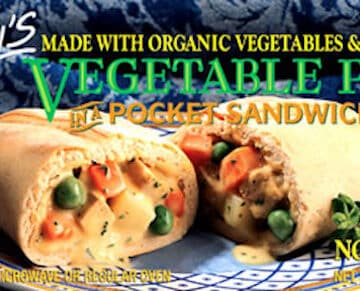 Amy's vegetable pie pocket sandwich