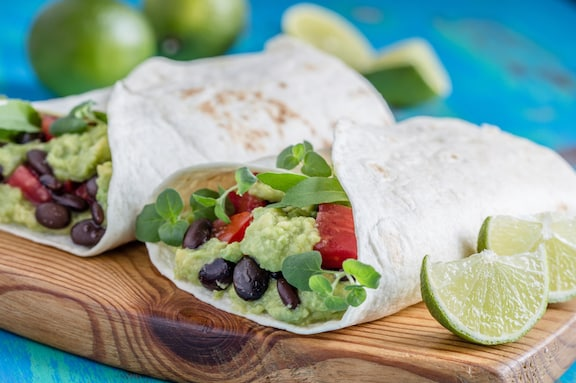 Avocado Black bean wraps