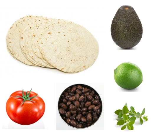 Avocado black bean wraps ingredients