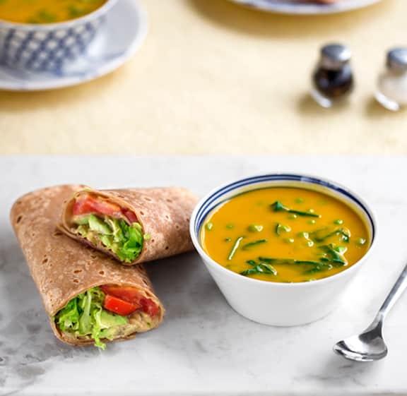 instant vegan Butternut soup & hummus wrap