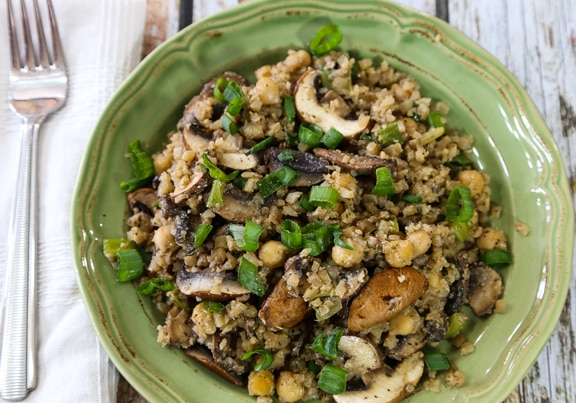 Cauliflower fried rice and mushrooms